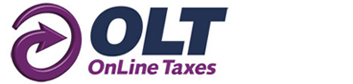 OnLine taxes logo with arrow in the shape of a circle