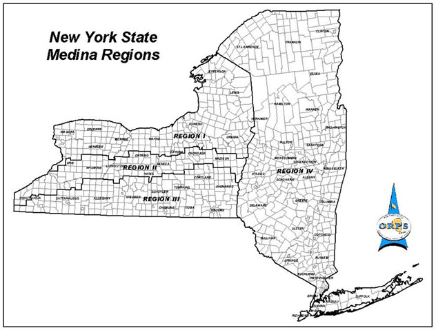 A map of NY State with the 4 Medina Formation Regions