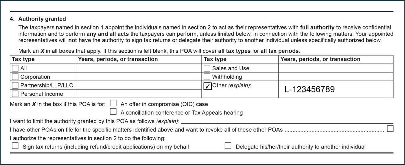 assessment number listed under years, periods, or transaction column