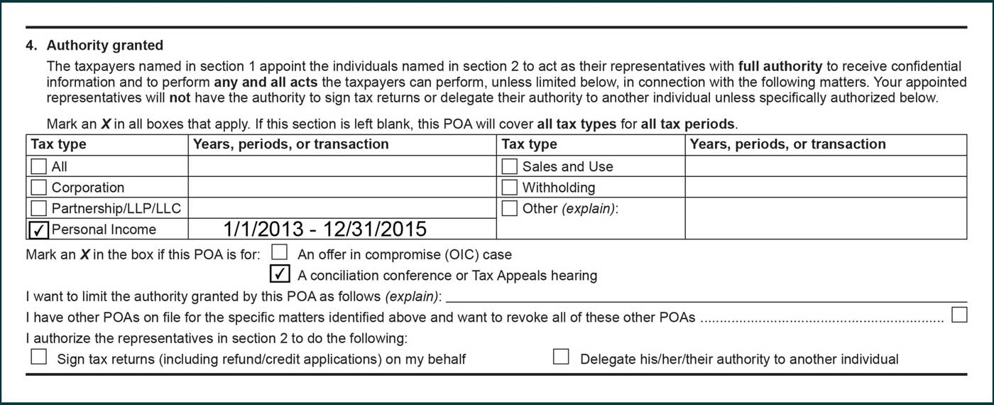 Personal income tax selected in tax type column. 1/1/2013 to 12/31/2015 listed under years, periods, or transaction column. Box selected for a conciliation conference or Tax Appeal hearing