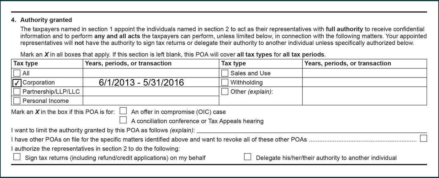 box selected next to corporation in tay type column. 6/1/2013 to 5/31/2016 listed in years, periods, or transaction column.