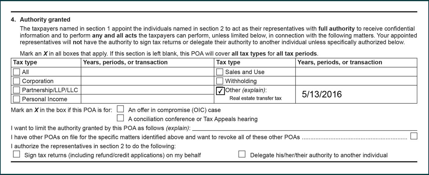 Other box selected and real estate transfer tax listed in the Tax type column. 5/13/2016 listed in the years, periods, or transaction column.
