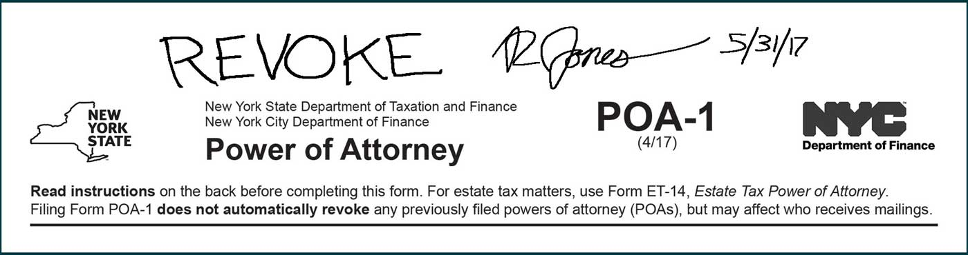 revoke written across the top of form poa-1. signature and date written across the top of form poa-1