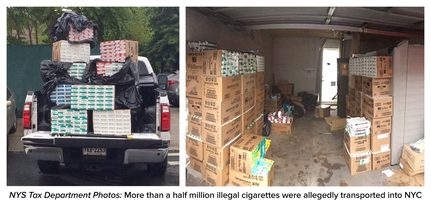 cartons in a van and garage